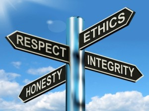 Respect Ethics Honest Integrity Signpost Means Good Qualities by Stuart Miles